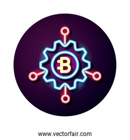 bitecoin in gear crypto currency neon style