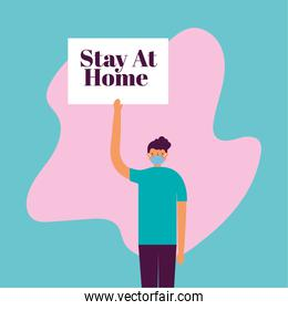 man using face mask for covid19 with stay at home banner