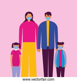 family using face masks for covid19