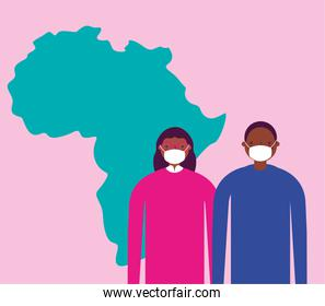 afro couple using face masks for covid19 with africa map