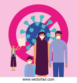 family using face masks with stop covid19 signal