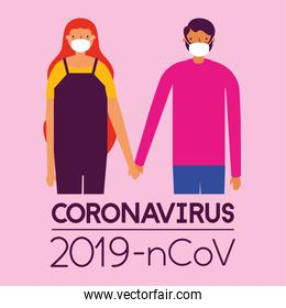 couple using face masks for covid19