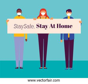 people using face mask for covid19 with stay home banner