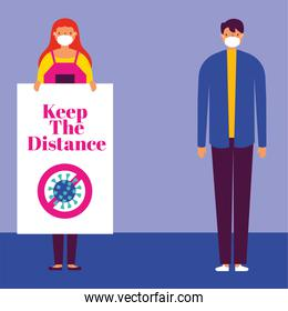 couple using safety masks for covid19 with keep distance banner