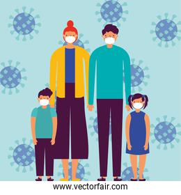 family using face masks and covid19 particles