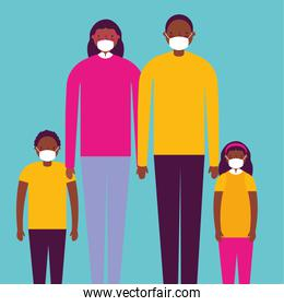 afro family using face masks for covid19