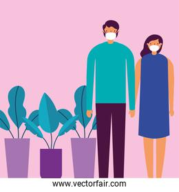 couple using face masks for covid19 with houseplants