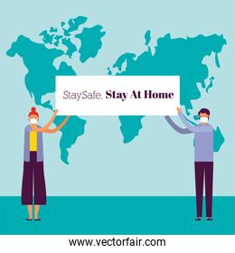 couple using face masks for covid19 with stay at home banner