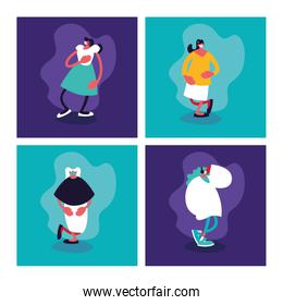set of women with surgical mask