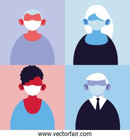 poster people with medical masks, protection of epidemic infection by coronavirus