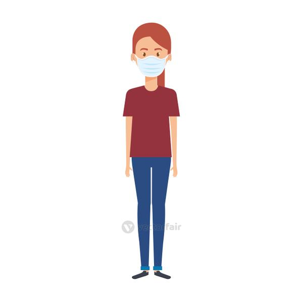young woman with face mask isolated icon