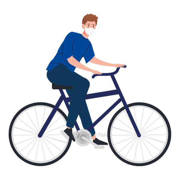 young man riding bicycle using face mask