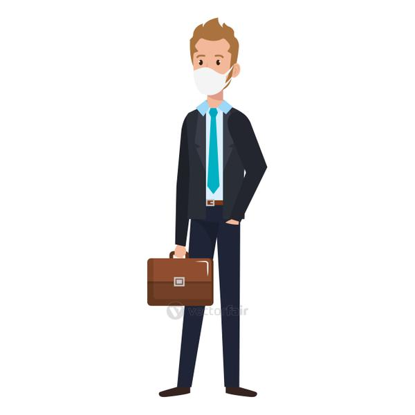 businessman using face mask with suitcase