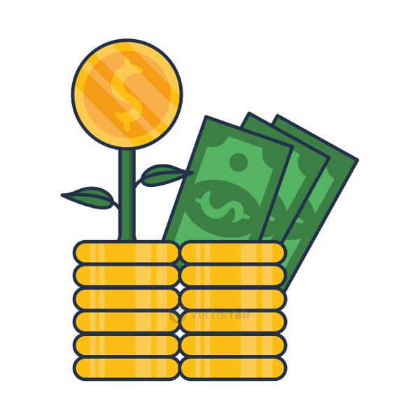 plant with coins and bills money dollars
