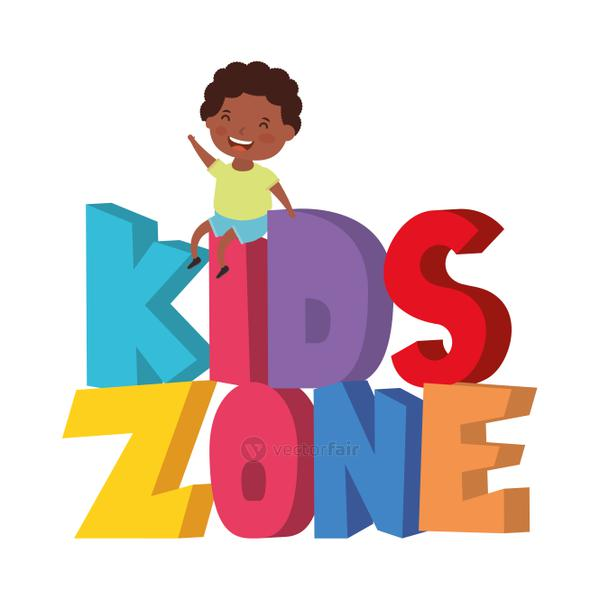 cute little afro boy with kids zone words