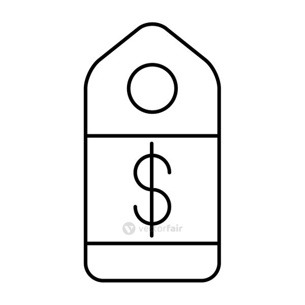 commercial tag hanging with dollar symbol