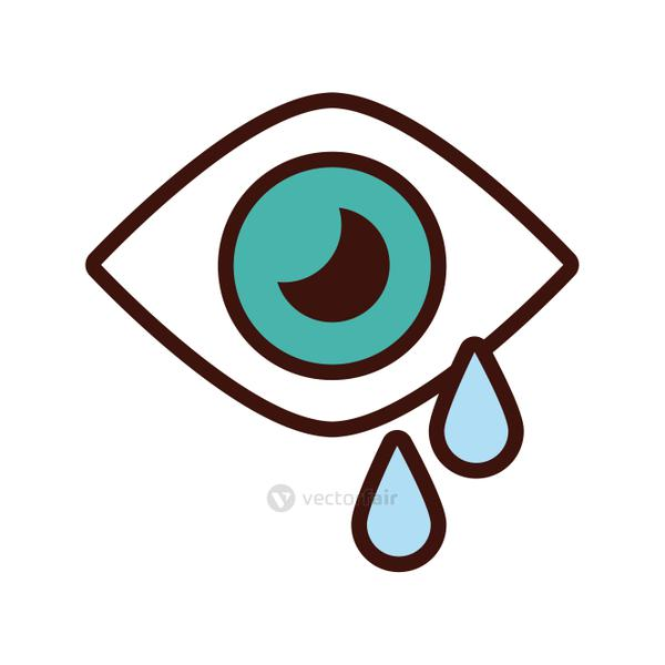 eye human crying line and fill style icon