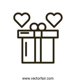 gift box present with hearts love
