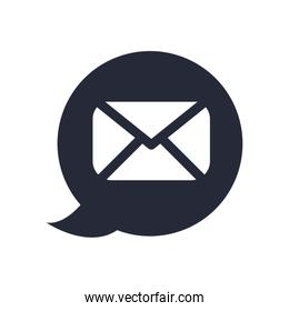 text bubble with envelope mail send