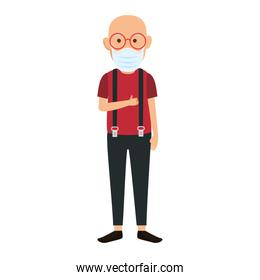 old man with face mask isolated icon