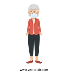 old woman with face mask isolated icon