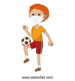 cute boy with face mask and ball soccer