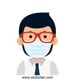 businessman with face mask and eyeglasses