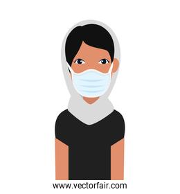 woman muslim using face mask isolated icon
