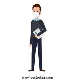 businessman using face mask with curriculum vitae