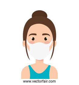 face of young woman using face mask
