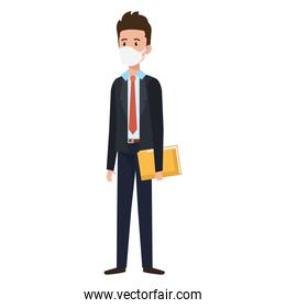 businessman using face mask with folder