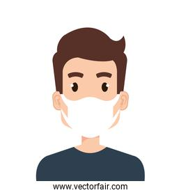 face of young man using face mask isolated icon