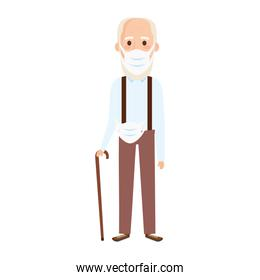 old man using face mask with walking stick
