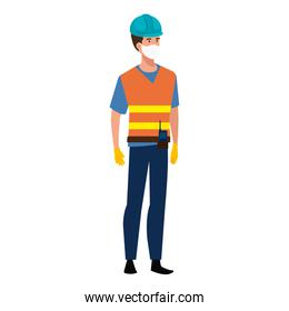 man engineer with vest using face mask isolated icon