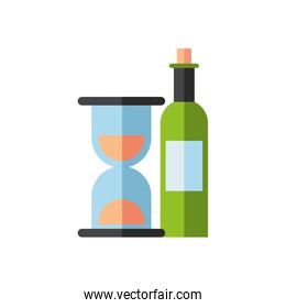 wine bottle drink with hourglass