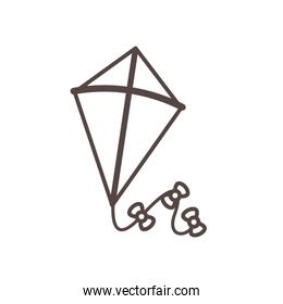 cute kite flying child toy line style icon