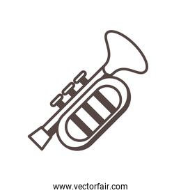 trumpet musical instrument line style icon