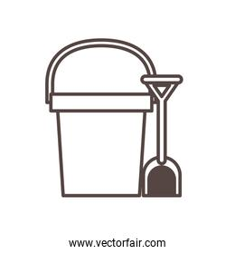 sand bucket with shovel child toy line style icon