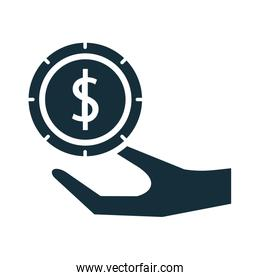 hand lifting coin money dollar silhouette style