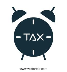 tax obligation with alarm clock silhouette style