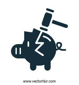 piggy savings money with hammer silhouette style