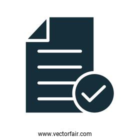paper document with check symbol silhouette style
