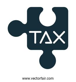 tax obligation with puzzle piece silhouette style
