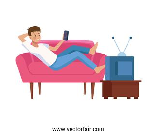 young man with control remote tv in sofa