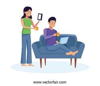 couple using smartphone and laptop characters