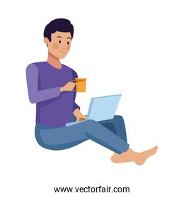 young man using laptop and drink coffee