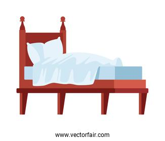bed with pillows isolated icon