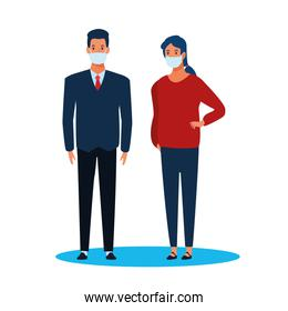 business couple using face mask for covid19