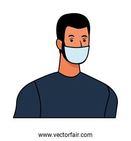 man using face mask for covid19 character