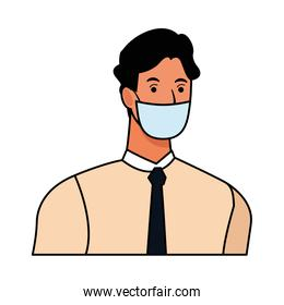 businessman using face mask for covid19 character